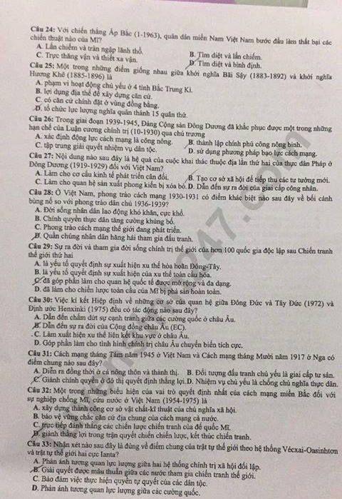Dap an thi THPTQG  nam 2019 mon Su ma de 319 cua Bo GD