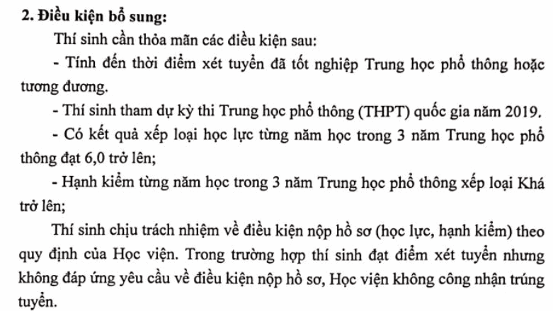 Diem san xet tuyen Hoc vien Bao chi va tuyen truyen 2019