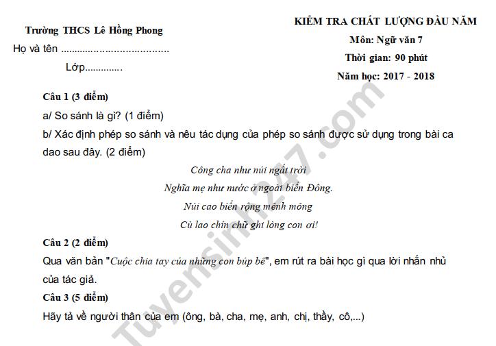 De khao sat chat luong dau nam lop 7 mon Van nam 2018 THCS Le Hong Phong