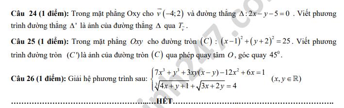 De Toan lop 11 khao sat dau nam nam 2018 THPT Xuan Hoa