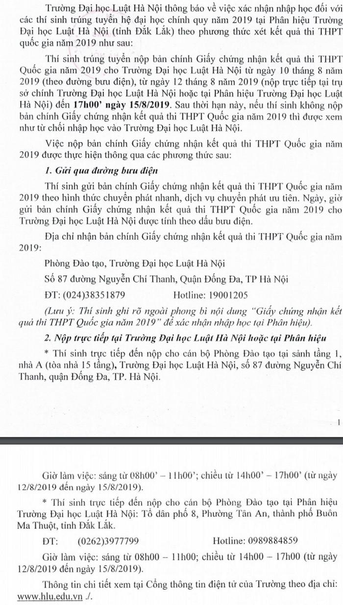 Ho so nhap hoc nam 2019 truong Dai hoc Luat Ha Noi