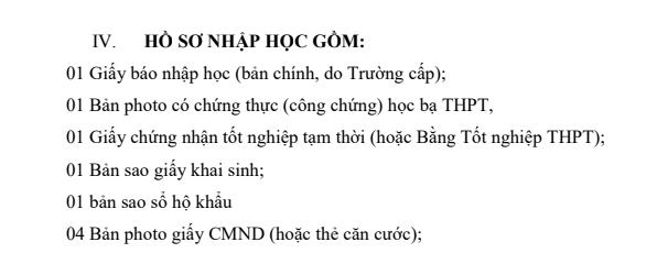 Ho so nhap hoc Truong Dai hoc Cong nghiep Thuc pham TP.HCM nam 2019