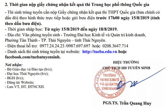 Ho so nhap hoc Dai hoc Kinh Te - Quan Tri Kinh Doanh - DH Thai Nguyen