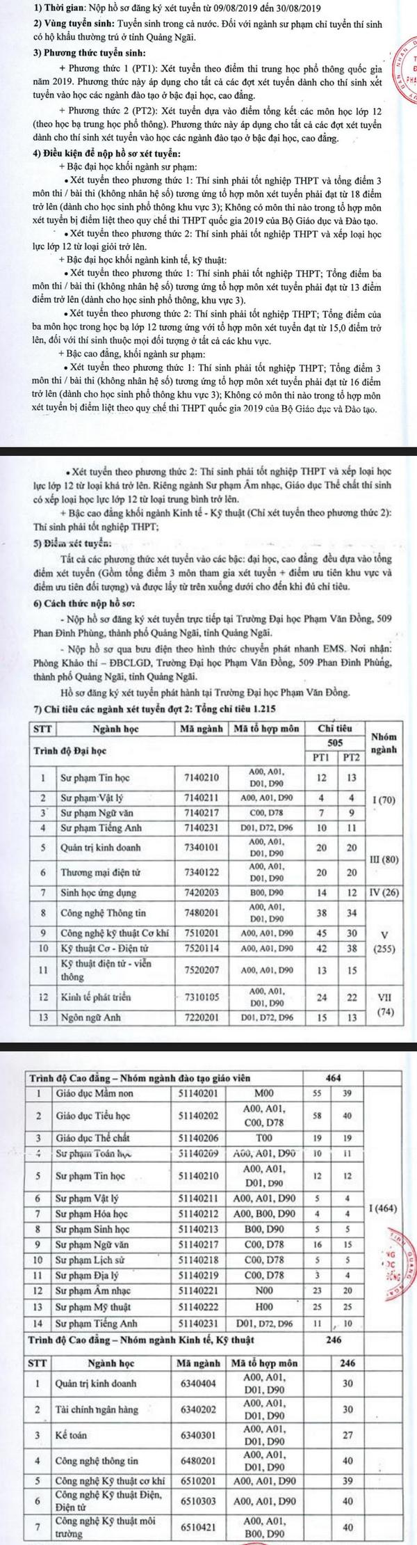 Truong Dai hoc Pham Van Dong thong bao xet tuyen bo sung dot 2 nam 2019