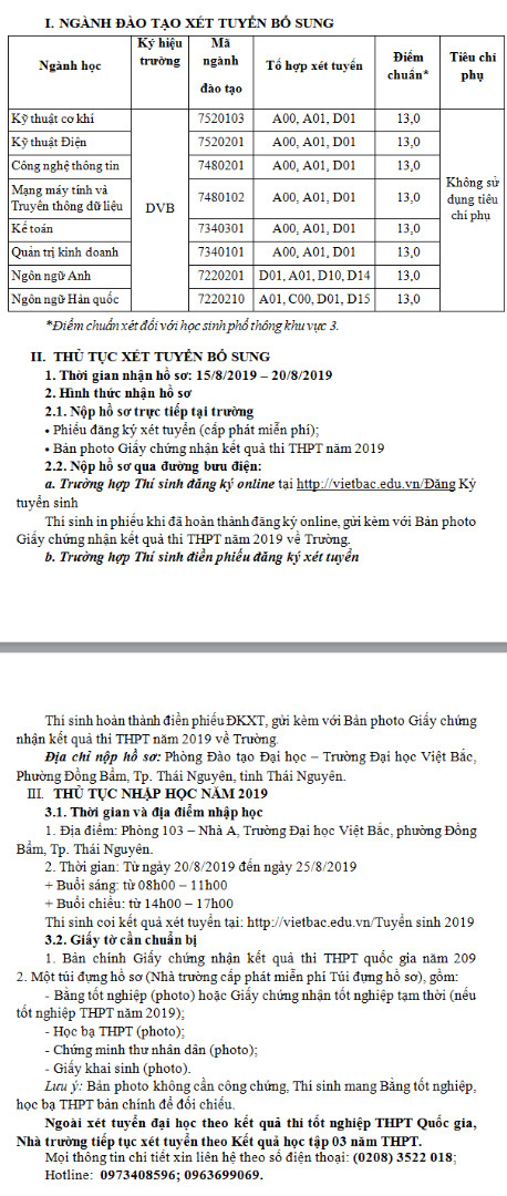 Dai hoc Viet Bac thong bao xet tuyen bo sung dot 1 nam 2019