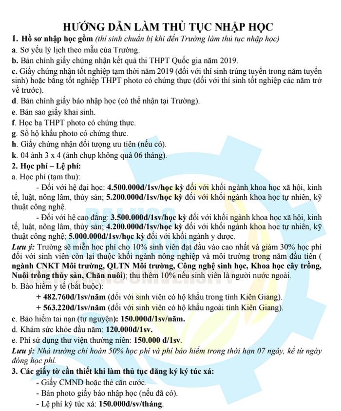 Thu tuc nhap hoc truong Dai hoc Kien Giang nam 2019