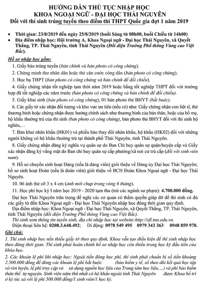 Khoa Ngoai Ngu - DH Thai Nguyen thong bao ho so nhap hoc 2019