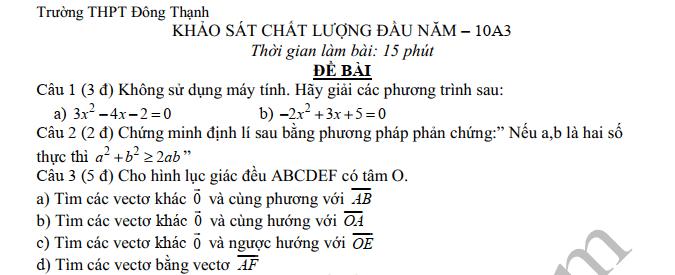 De khao sat chat luong dau nam lop 10 THPT Dong Thanh 2019