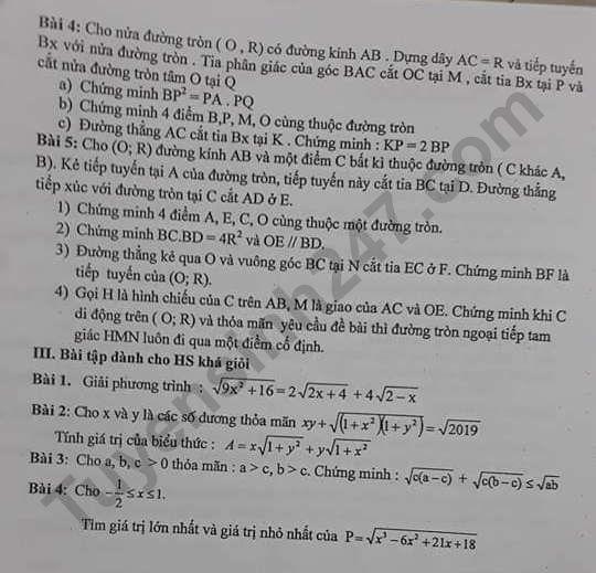 De cuong on tap ki 1 lop 9 mon Toan 2019 - THCS Hoang Liet