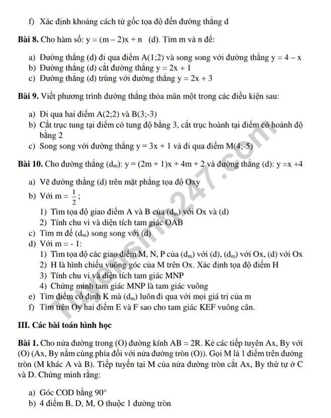 De cuong on tap ki 1 lop 9 mon Toan - THCS Trung Vuong 2019