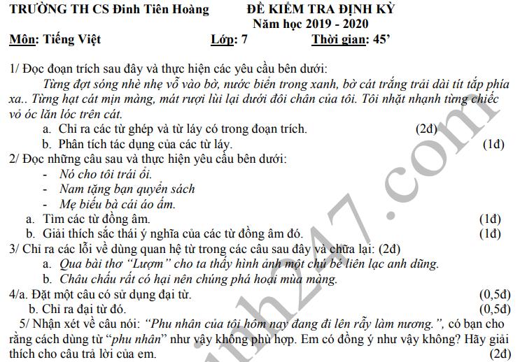 De thi ki 1 lop 7 mon Van 2019 - 2020 THCS Dinh Tien Hoang