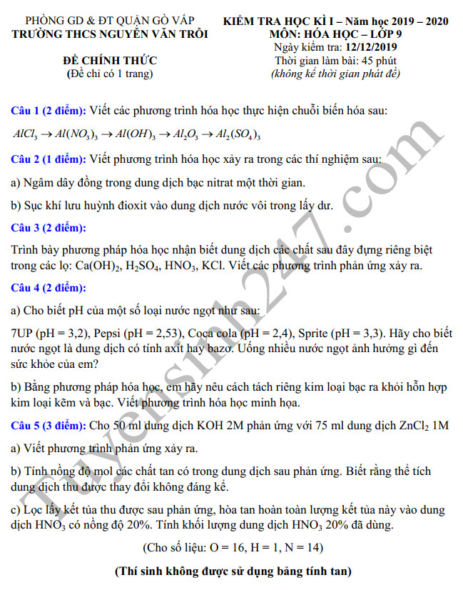De thi cuoi ki 1 lop 9 mon Hoa THCS Nguyen Van Troi nam 2019
