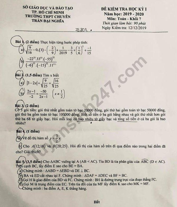 De thi ki 1 lop 7 mon Toan 2019 - 2020 Chuyen Tran Dai Nghia