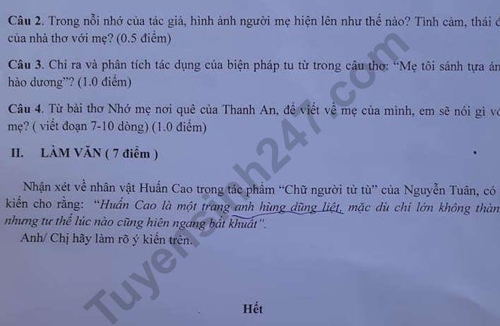 De thi lop 11 mon Van ki 1 - THPT Truong Chinh nam 2019