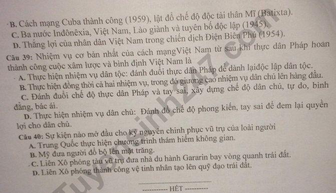De thi thu THPTQG 2020 mon Su lan 2 Chuyen Thai Binh