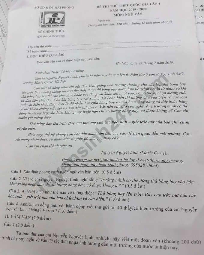 De thi thu THPTQG mon Van 2020 THPT Chuyen Tran Phu lan 1
