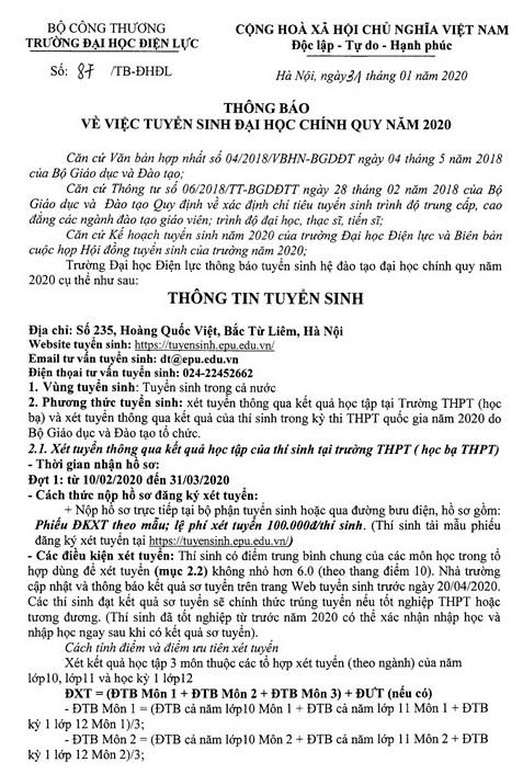 Dai hoc Dien luc cong bo phuong an tuyen sinh 2020