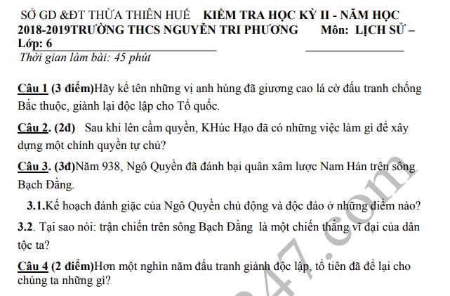 De thi ki 2 lop 6 mon Su THCS Nguyen Tri Phuong 2019