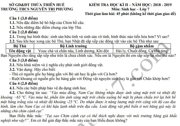 De thi ki 2 mon Sinh lop 7 THCS Nguyen Tri Phuong 2019