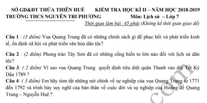 De thi ki 2 lop 7 mon Su THCS Nguyen Tri Phuong 2019
