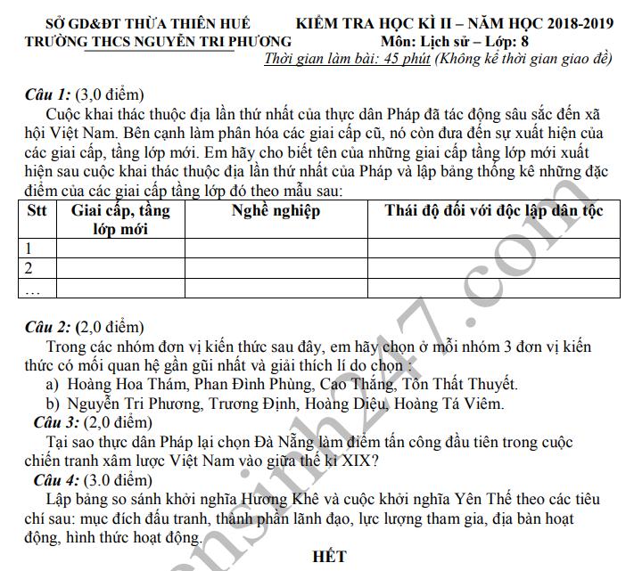 De thi ki 2 mon Su lop 8 nam 2019 - THCS Nguyen Tri Phuong