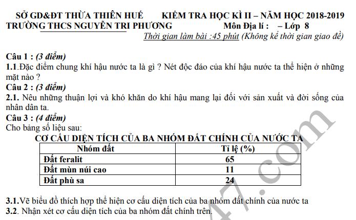 De thi hoc ki 2 mon Dia 2019 lop 8 THCS Nguyen Tri Phuong