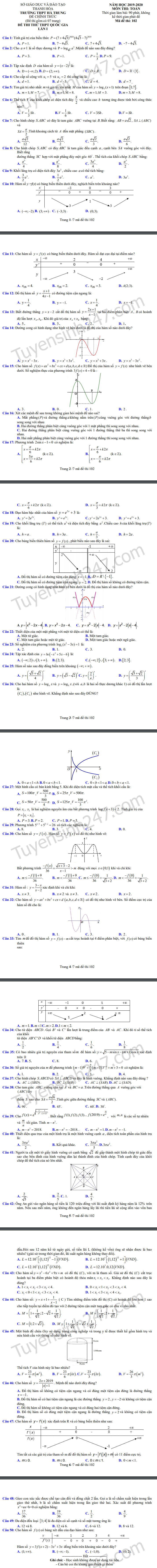 De thi thu THPTQG 2020 mon Toan THPT Ha Trung lan 1