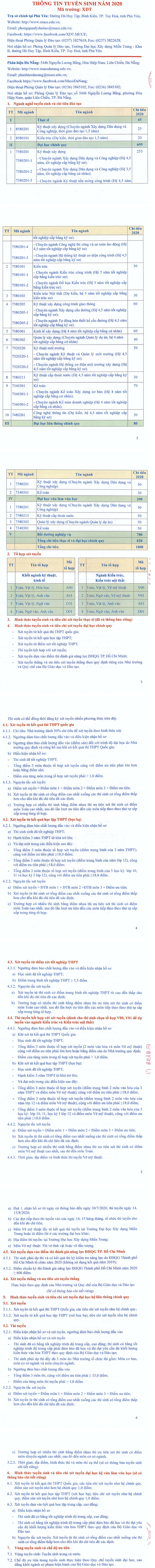 Phuong an tuyen sinh Dai hoc Xay dung mien Trung 2020