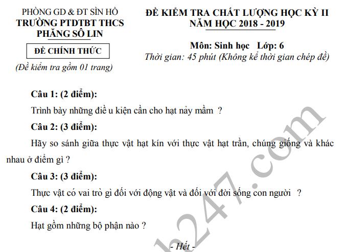De thi ki 2 mon Sinh lop 6 THCS Phang So Lin 2019