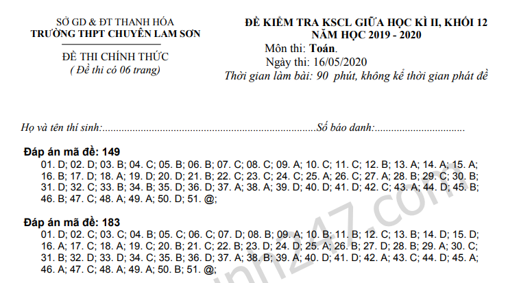 De thi giua ki 2 lop 12 mon Toan 2020 - THPT Chuyen Lam Son