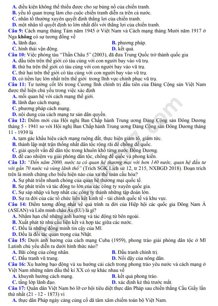 Dap an de thi thu mon Su THPTQG nam 2020 lan 1 So Ninh Binh