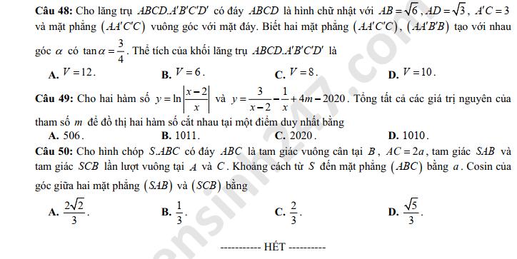 Dap an de thi thu THPTQG mon Toan Ninh Binh 2020 lan 1