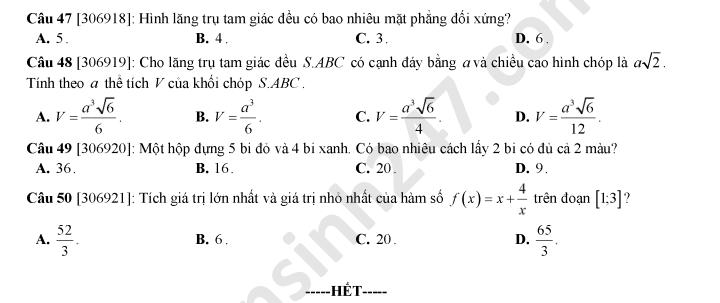 De thi thu THPTQG tinh Hai Phong mon Toan nam 2020
