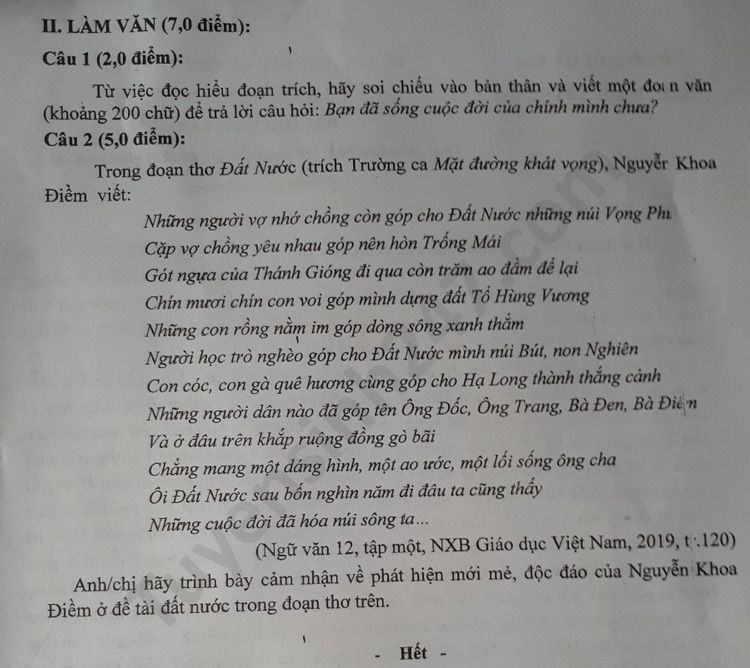 De thi thu THPTQG truong THPT Kim Lien 2020 mon Van lan 2
