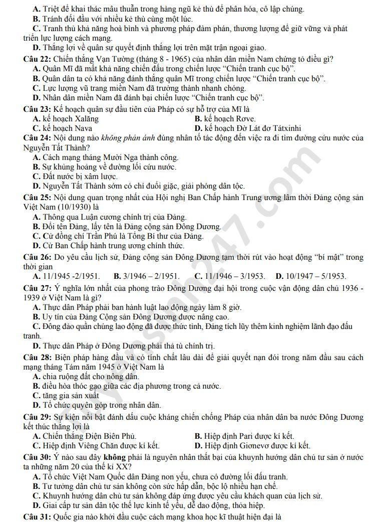 De thi thu THPTQG mon Su THPT Yen Phong so 1 nam 2020