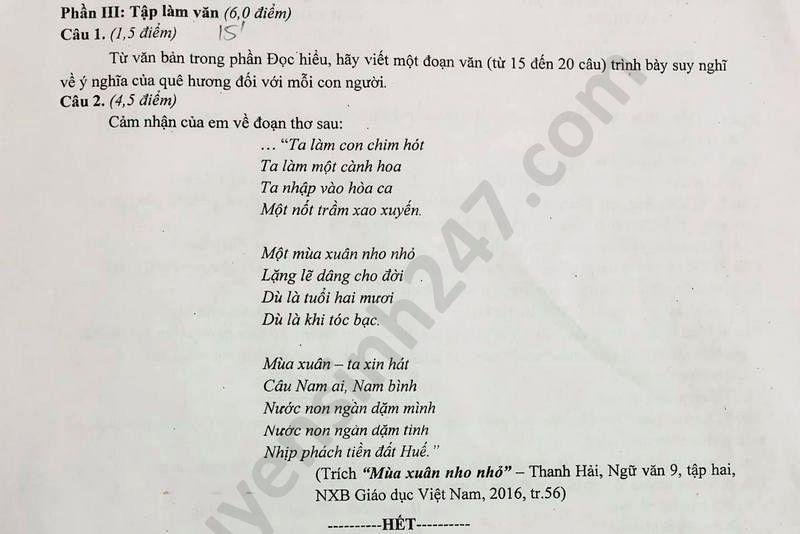 De thi hoc ki 2 mon Van lop 9 So GD Nam Dinh nam 2020