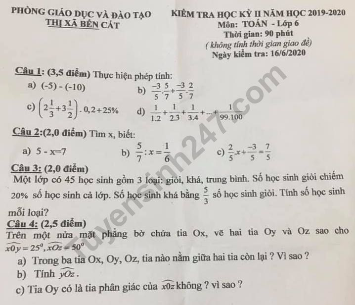 De thi ki 2 mon Toan lop 6 - Phong GD Ben Cat 2020
