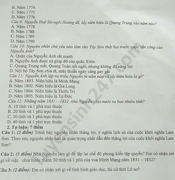 De thi hoc ki 2 lop 7 mon Su THCS Tan Dan nam 2020