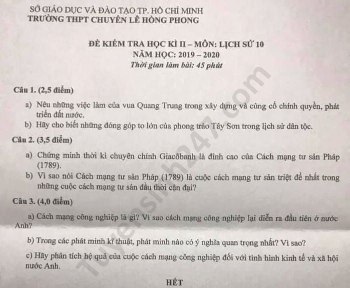De thi hoc ki 2 mon Su lop 10 nam 2020 THPT chuyen Le Hong Phong