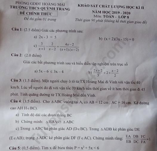 De thi hoc ki 2 mon Toan lop 8 THCS Quynh Trang nam 2020