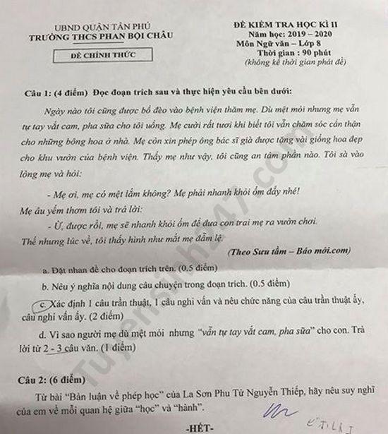 De thi hoc ki 2 mon Van lop 8 nam 2020 THCS Phan Boi Chau
