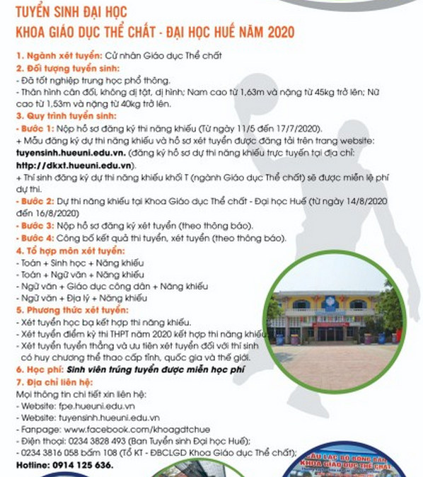 Thong tin tuyen sinh Khoa Giao duc the chat - DH Hue 2020