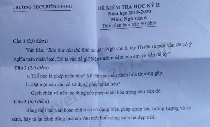 De thi hoc ki 2 mon Van lop 6 THCS Bien Giang nam 2020