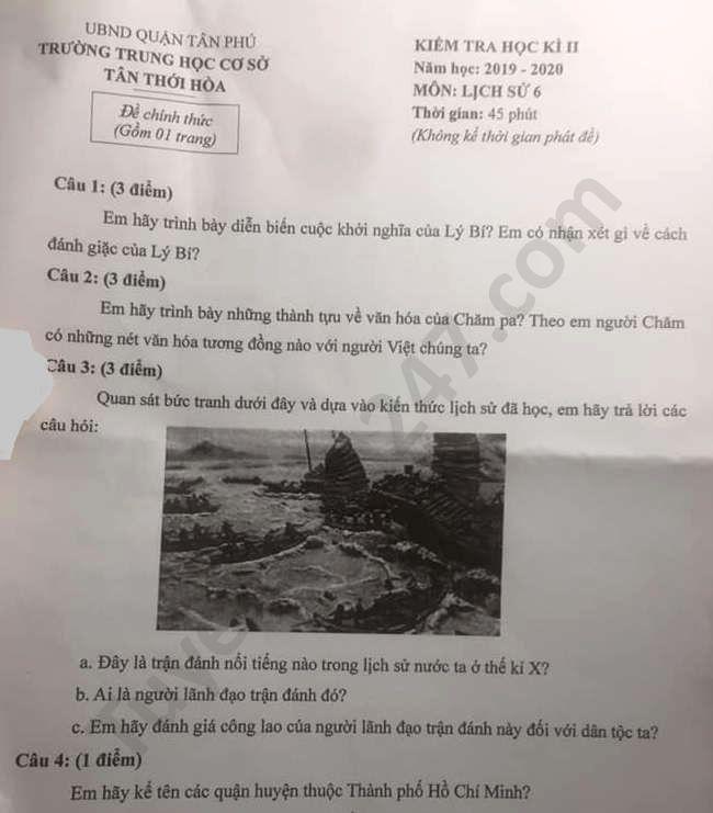 De thi hoc ki 2 nam 2020 mon Su lop 6 THCS Tan Thoi Hoa