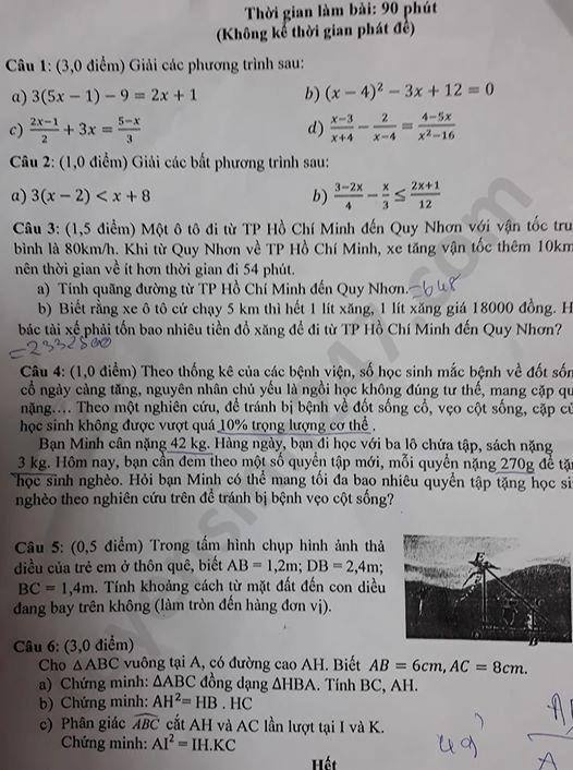 De thi hoc ki 2 mon Toan lop 8 THCS Nguyen Hue nam 2020