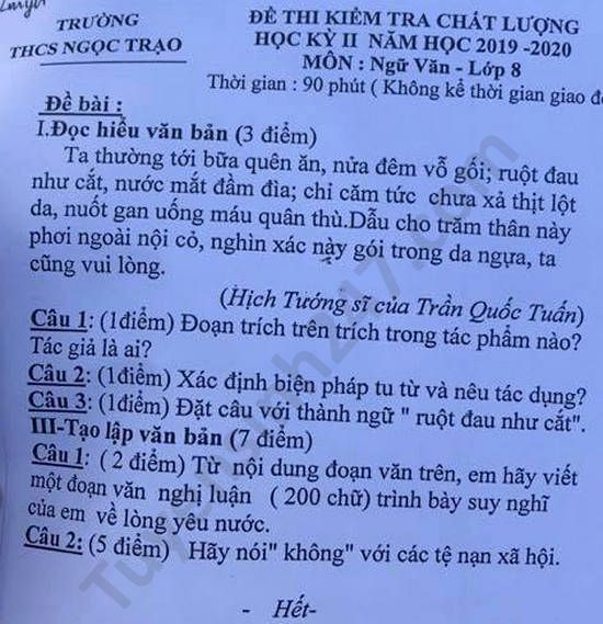 De thi hoc ki 2 mon Van lop 8 THCS Ngoc Trao nam 2020
