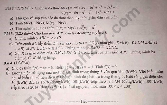 De thi ki 2 lop 7 mon Toan 2020 - Phong GD Xuan Truong
