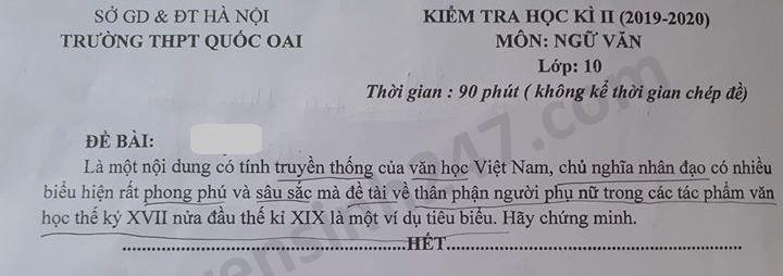 De thi hoc ki 2 mon Van lop 10 THPT Quoc Oai nam 2020