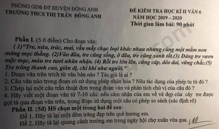 De thi hoc ki 2 mon Van lop 6 THCS TT Dong Anh nam 2020