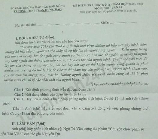 De thi hoc ki 2 mon Van lop 10 THPT Tran Hung Dao nam 2020
